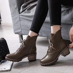 Shoespie Casual Platform Chunky Heel Ankle Boots