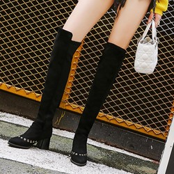 Shoespie Patchwork Plain Rivet Black Knee High Boots