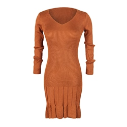 Long Sleeve Plain V-Neck Casual Women's Bodycon Dress