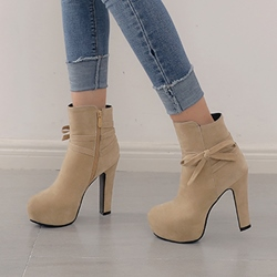 Shoespie Platform Bow Round Toe Ankle Boots