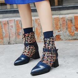 Shoespie Patchwork Color Block Buckle Ankle Boots