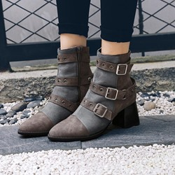 Shoespie Patchwork Rivet Buckle Ankle Boots