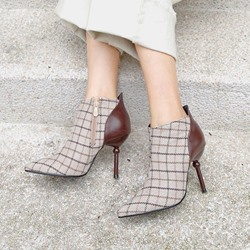 Shoespie Patchwork Plaid Side Zipper Ankle Boots