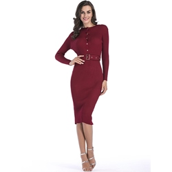 Long Sleeve Belt Round Neck Standard-Waist Women's Dress