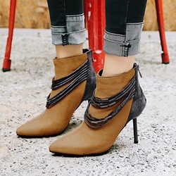 Shoespie Patchwork Color Block Back Zip Ankle Boots