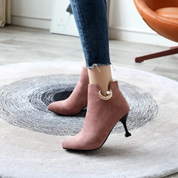 Shoespie Beads Sequin Pointed Toe Ankle Boots