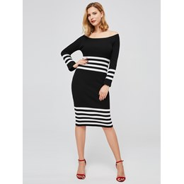 Shoespie Stripe Belt Color Block Women's Bodycon Dress
