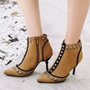 Shoespie Rivet Plain Pointed Toe Ankle Boots