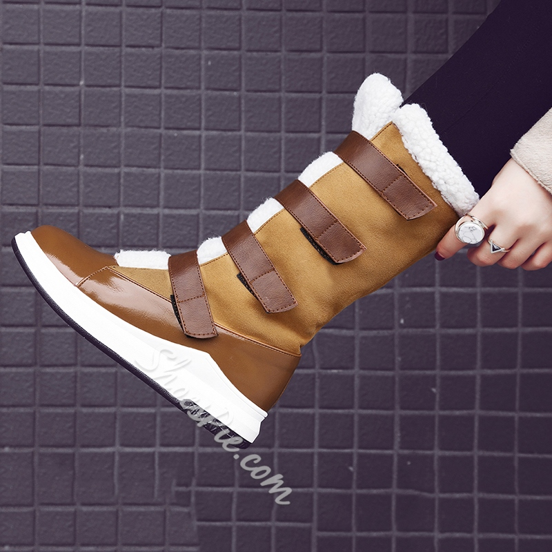 Shoespie Platform Patchwork Color Block Snow Boots