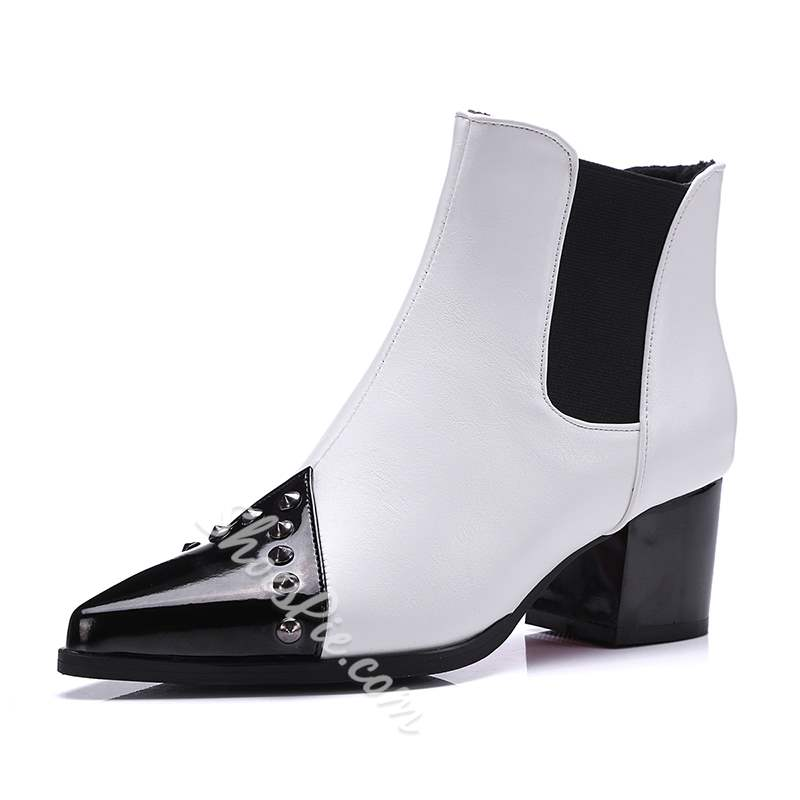 Shoespie Rivet Patchwork Plain Elastic Ankle Boots