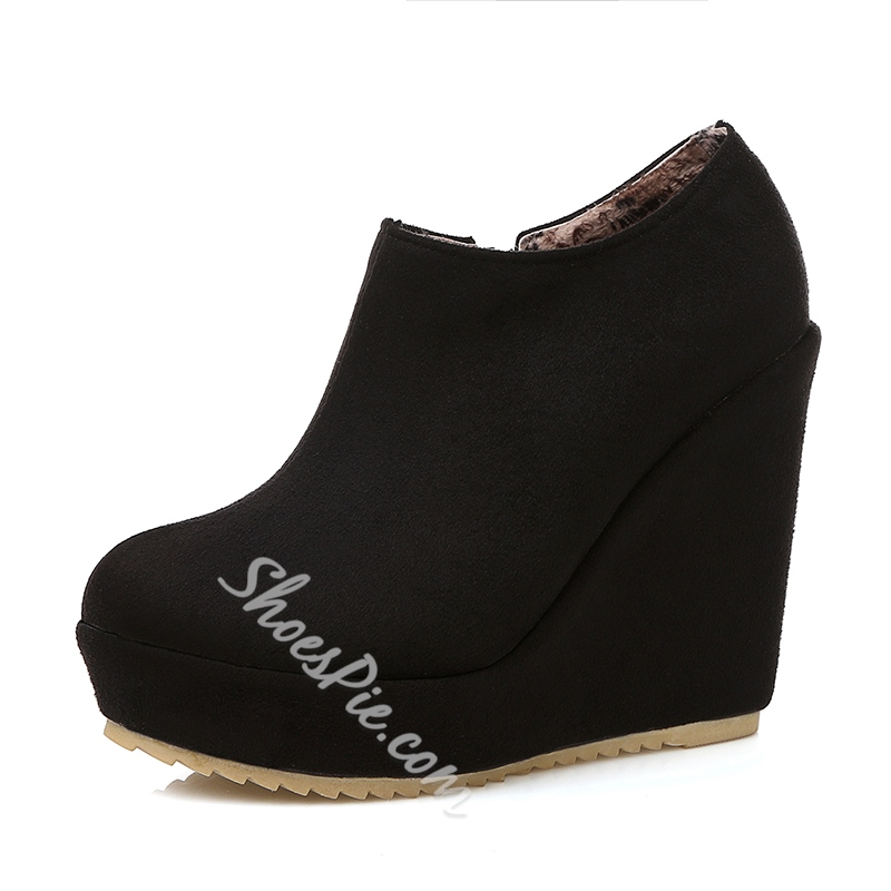 Casual Round Toe Side Zipper Suede Ankle Boots