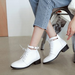 Shoespie Round Toe Buckle Ankle Boots