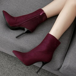 Shoespie Plain Pointed Toe Side Zipper Ankle Boots