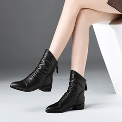 Shoespie Black Back Zip Round Toe Ankle Boots