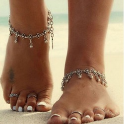 Concise Beading E-plating Alloy Anklets