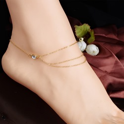 Simple Diamante Multilayer Anklets