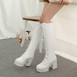 Shoespie Platform Lace-Up Knee High Boots