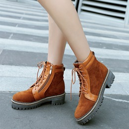 Platform Side Zipper Lace Up Ankle Boots