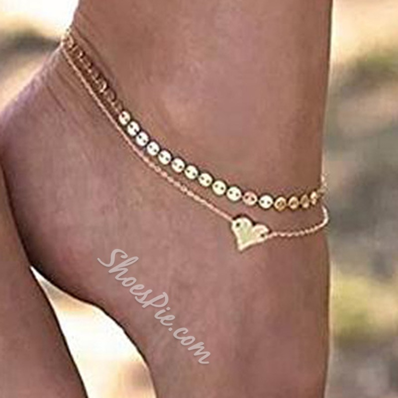 Sequins Pendant E-plating Layered Anklets