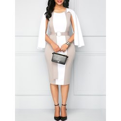 Shoespie Patchwork Belt Women's Bodycon Dress