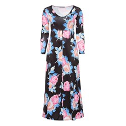 Shoespie Polyester V Neck Floral Women's Maxi Dress