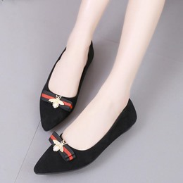 Pointed Toe Bowknot Bead Casual Women's Loafers