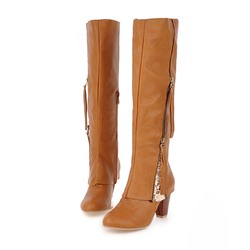 Shoespie Casual Side Zipper Knee High Boots