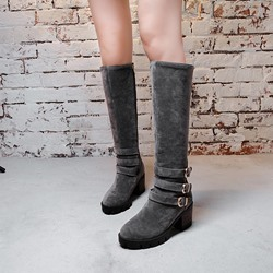 Buckle Side Zipper Casual Knee High Boots