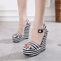 Black & White Ankle Strap Open Toe Wedge Sandals