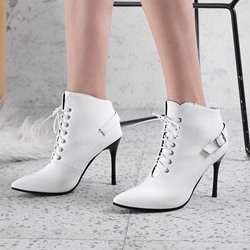 Shoespie Buckle Lace-Up Pointed Toe Ankle Boots