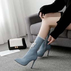 Light Blue Worn Casual Pointed Toe Ankle Boots