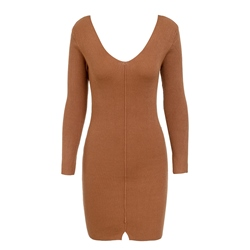 V-Neck Sweater Long Sleeve Casual Women's Bodycon Dress