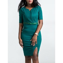 Shoespie Plain Hunter Split Women's Bodycon Dress