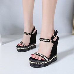 Black Rivet Ankle Strap Open Toe Wedge Sandals