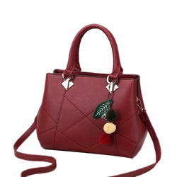 Shoespie Plain PU Zipper Medium Handbag
