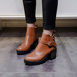 Rivet Buckle Side Zipper Casual Chelsea Boots