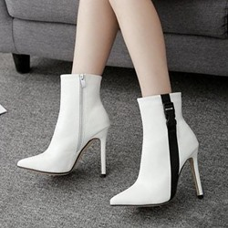 Black & White Buckle Stiletto Heel Ankle Boots