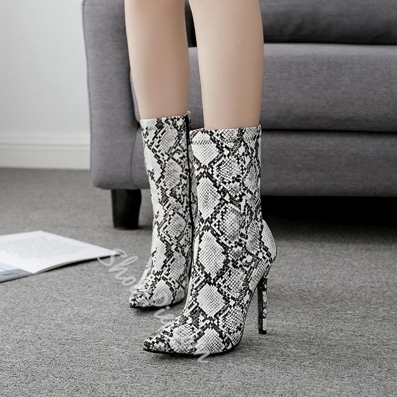Serpentine Side Zipper Pointed Toe Ankle Boots