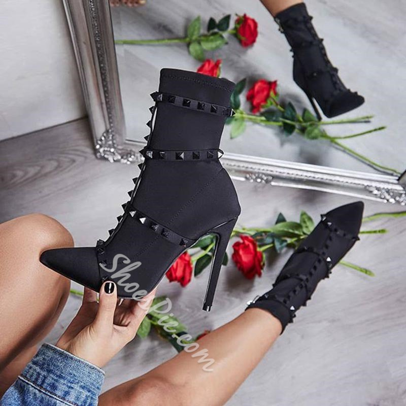 Rivet Pointed Toe Slip-On Ankle Boots