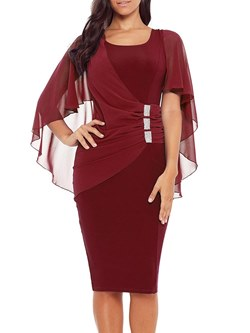 Shoespie Elegant Burgundy Women's Bodycon Dress