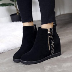 Black Embroidery Platform Wedge Heel Ankle Boots