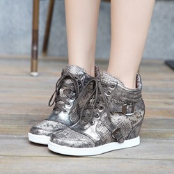 Shoespie Silver Lace-Up Buckle Wedge Sneakers