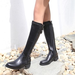 Black Buckle Side Zipper Knee High Boots