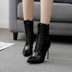 Black Cross Strap Pointed Toe Stiletto Ankle Boots