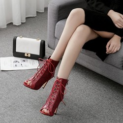 Shoespie Peep Toe Hollow Cross Strap Ankle Boots