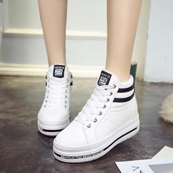 Black & White Casual Wedge Sneakers