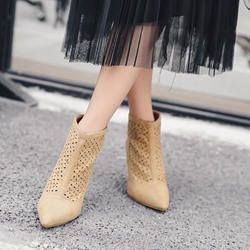 Hollow Casual Pointed Toe Kitten Heel Ankle Boots