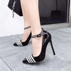 Black & White Casual Line-Style Buckle Stiletto Heels