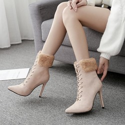 Pointed Toe SuedeStiletto Heel Ankle Boots