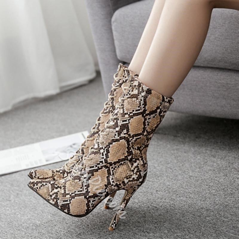 Serpentine Brown Stiletto Heel Ankle Boots